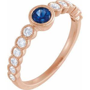 14K Rose Blue Sapphire & 1/2 CTW Diamond Ring