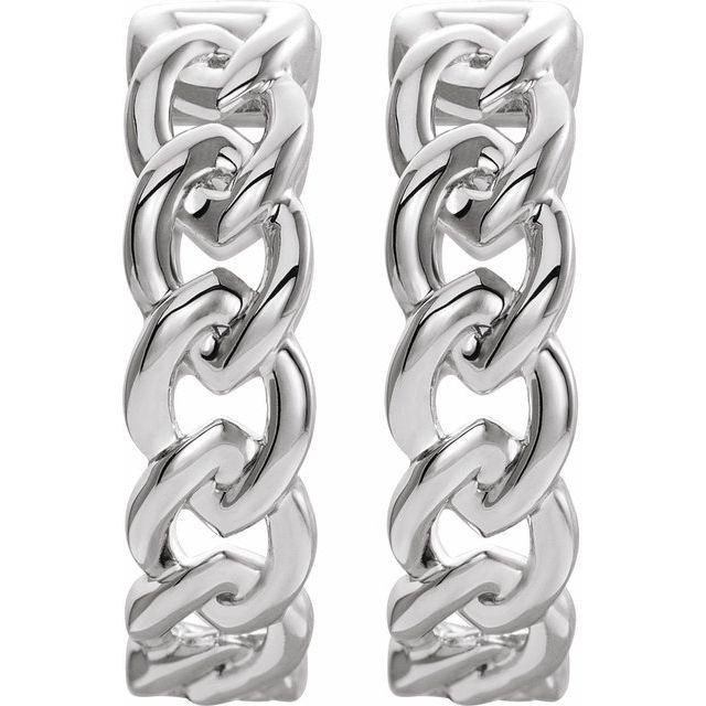 14K White 19.6 mm Chain Link Hoop Earrings