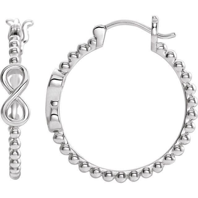 14K White 22.3 mm Infinity-Inspired Beaded Hoop Earrings