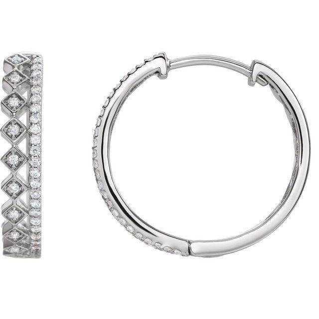 14K White 1/4 CTW Diamond Geometric Hoop Earrings