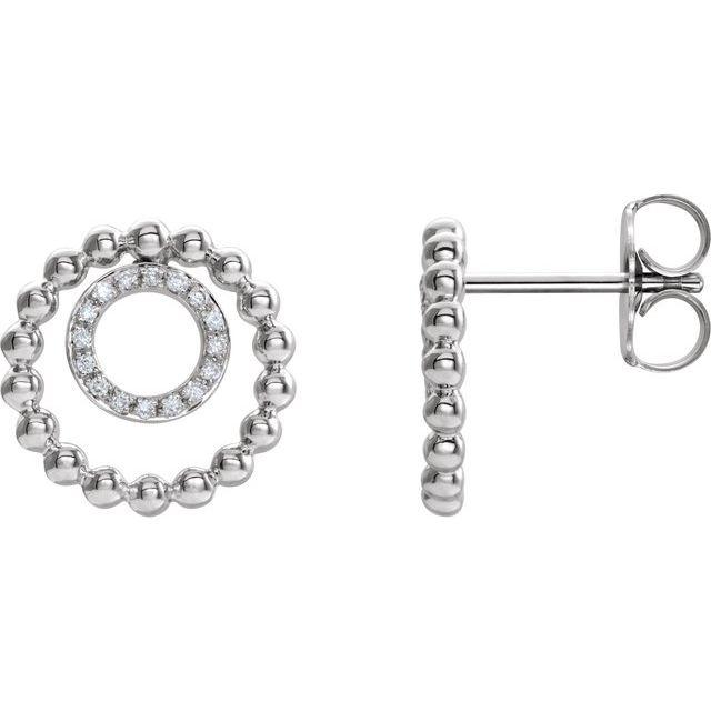 14K White  1/10 CTW Diamond Beaded Circle Earrings