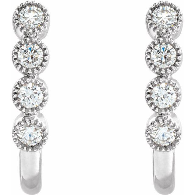 14K White 1/4 CTW Diamond J-Hoop Earrings