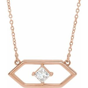 "14K Rose 1/4 CTW Diamond Geometric 16"" Necklace"