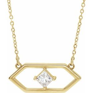 "14K Yellow 1/4 CTW Diamond Geometric 18"" Necklace"
