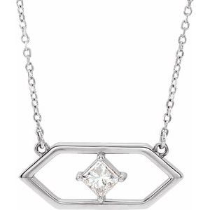 "14K White 1/4 CTW Diamond Geometric 16"" Necklace"