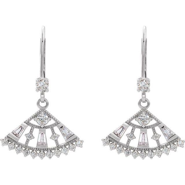 14K White 3/4 CTW Diamond Lever Back Fan Earrings