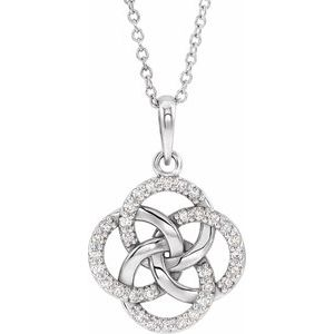 Sterling Silver 1/8 CTW Diamond Five-Fold Celtic Necklace