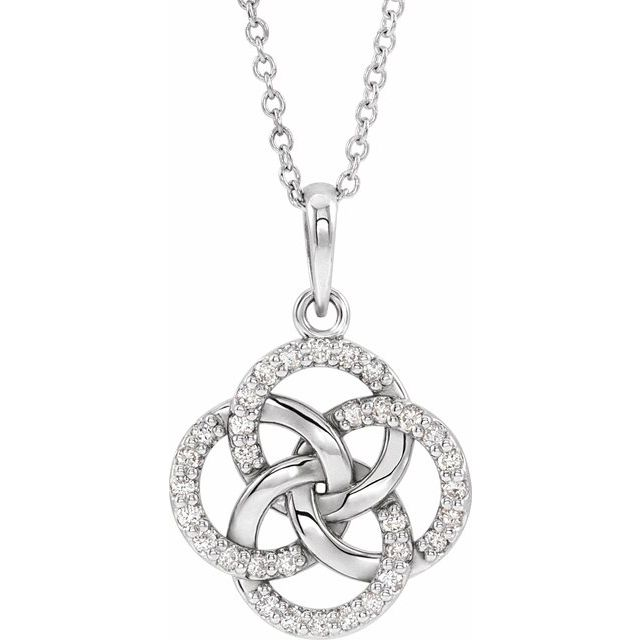 Sterling Silver 1/8 CTW Diamond Five-Fold Celtic Necklace