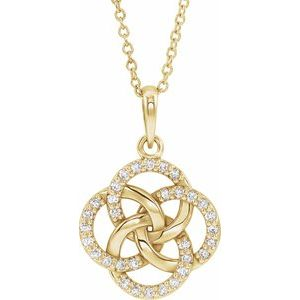 14K Yellow 1/8 CTW Diamond Five-Fold Celtic Necklace