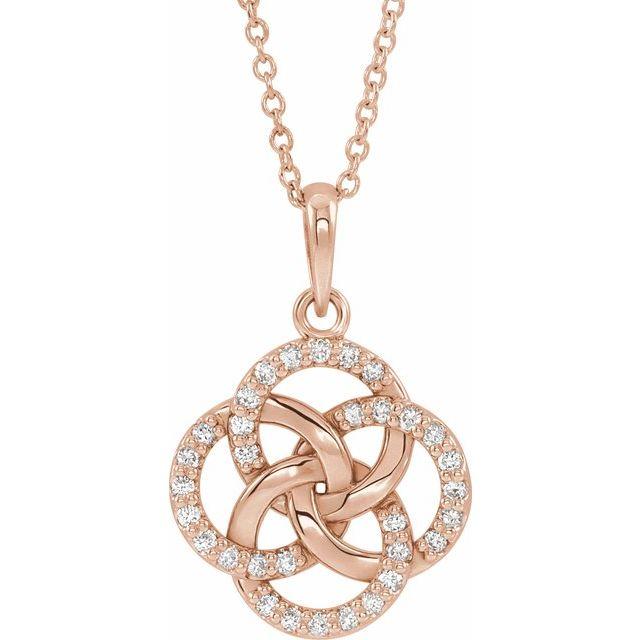14K Rose 1/8 CTW Diamond Five-Fold Celtic Necklace