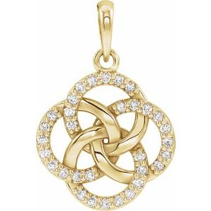 14K Yellow 1/8 CTW Diamond Five-Fold Celtic Pendant