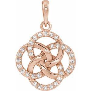 14K Rose 1/8 CTW Diamond Five-Fold Celtic Pendant