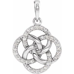 14K White 1/8 CTW Diamond Five-Fold Celtic Pendant