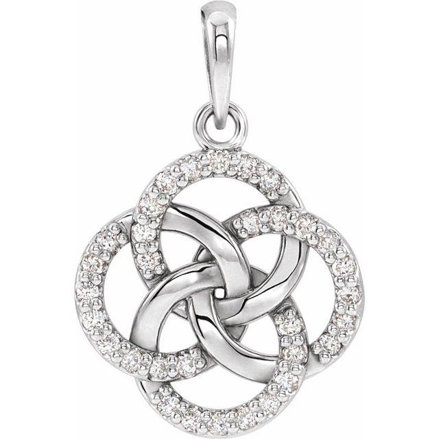 14K White 1/8 CTW Diamond Five-Fold Celtic Pendant