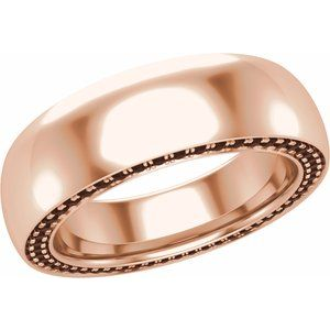 14K Rose 6 mm 3/4 CTW Black Diamond Band Size 10