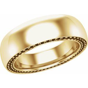 14K Yellow 6 mm 1/2 CTW Black Diamond Band Size 7