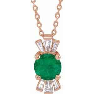 "14K Rose Chatham® Lab-Created Emerald & 1/6 CTW Diamond 16-18"" Necklace"