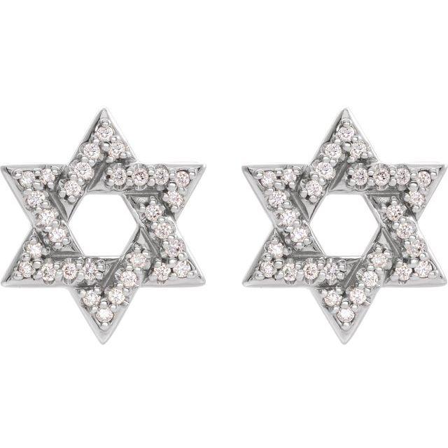 14K White 1/8 CTW Diamond Star of David Earrings