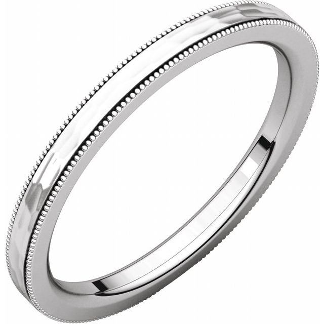 14K White 2 mm Flat Milgrain Band with Satin & Hammer Finish Size 7