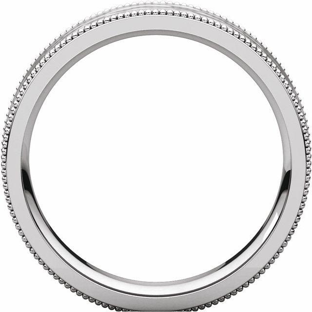 14K White 5 mm Flat Milgrain Band with Satin & Hammer Finish Size 5