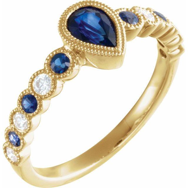 14K Yellow Blue Sapphire & 1/6 CTW Diamond Ring