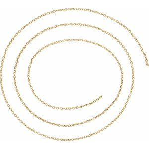 14K Yellow 1 mm Diamond-Cut Cable Chain by the Inch