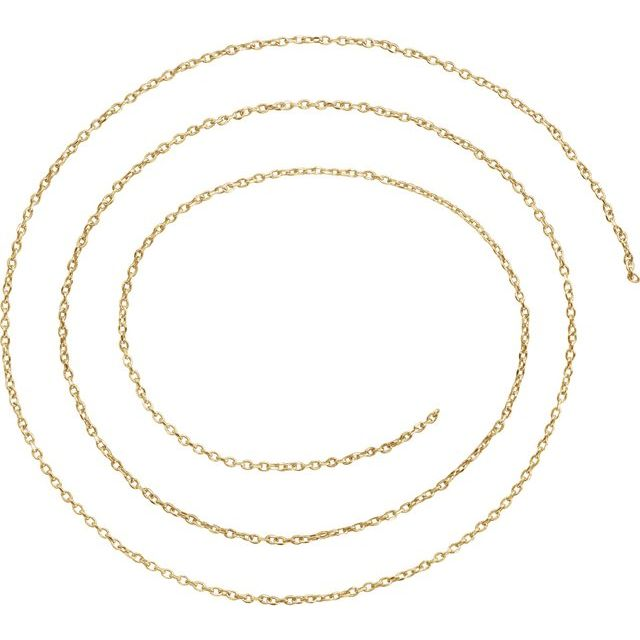 18K Yellow 1 mm Diamond-Cut Cable Chain by the Inch