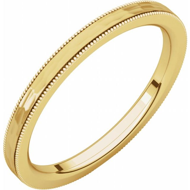 14K Yellow 2 mm Flat Milgrain Band with Satin & Hammer Finish Size 10