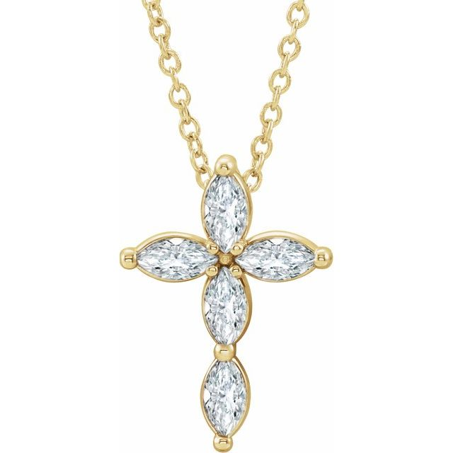 14K Yellow 1/3 CTW Diamond Cross Necklace