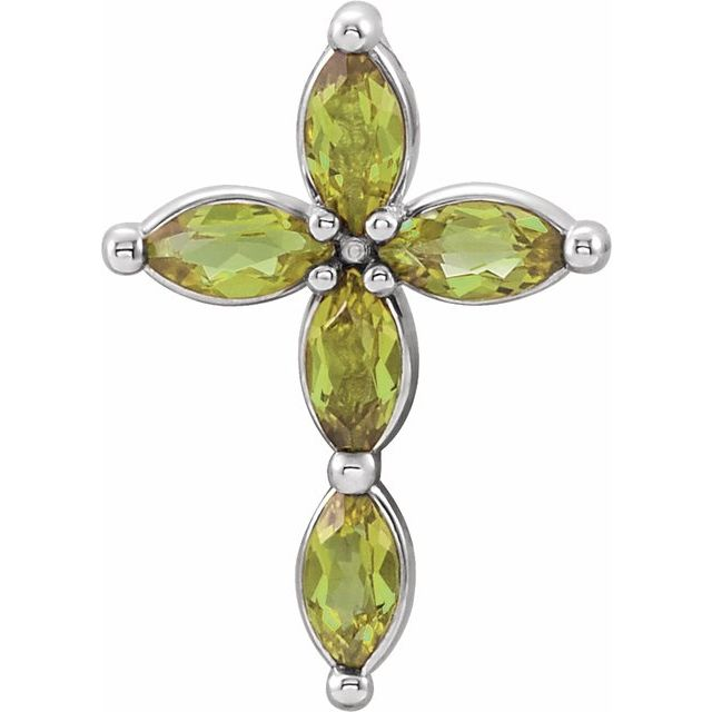 14K White Peridot Cross Pendant