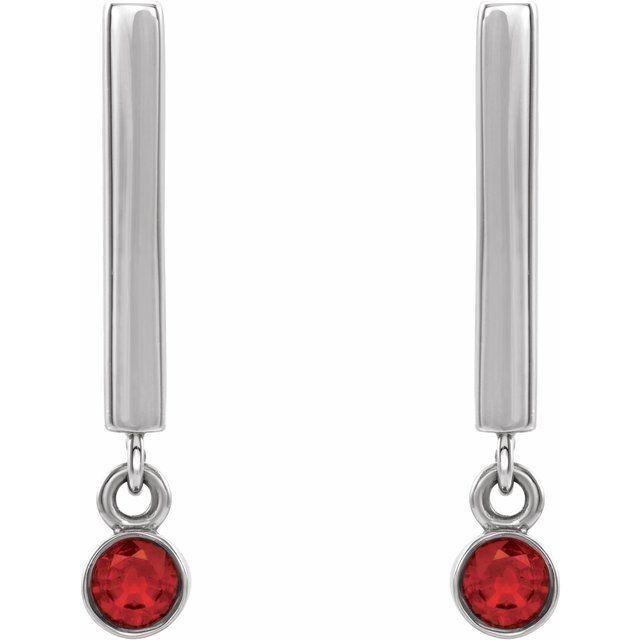14K White Ruby Bar Earrings