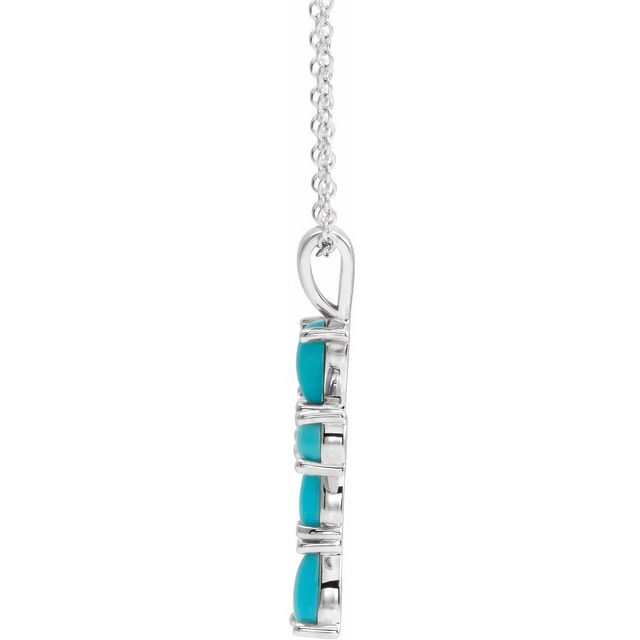 Sterling Silver Cabochon Turquoise Cross 16-18