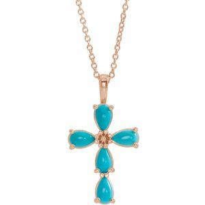 "14K Rose Cabochon Turquoise Cross 16-18"" Necklace"