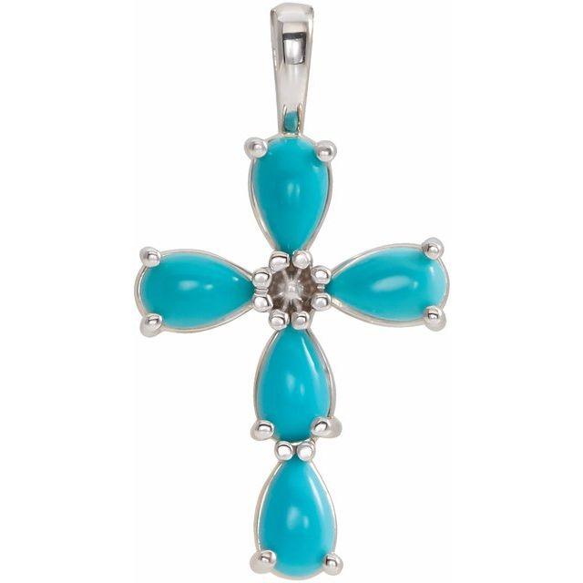 14K White Cabochon Turquoise Cross Pendant