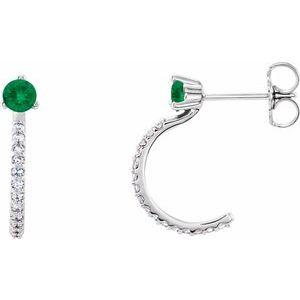 14K White Emerald & 1/6 CTW Diamond Hoop Earrings