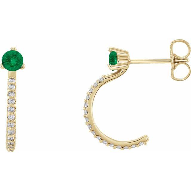 14K Yellow Lab-Grown Emerald & 1/6 CTW Diamond Hoop Earrings