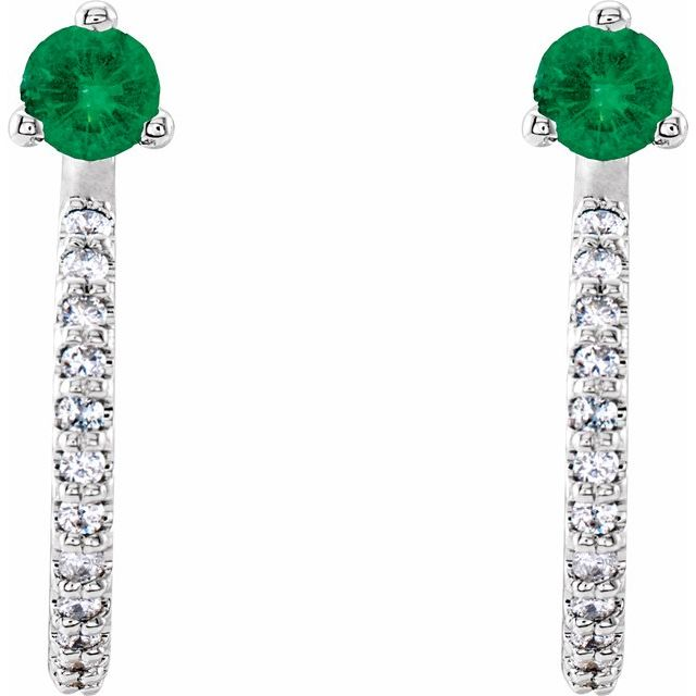 14K White Emerald & 1/6 CTW Diamond Hoop Earrings