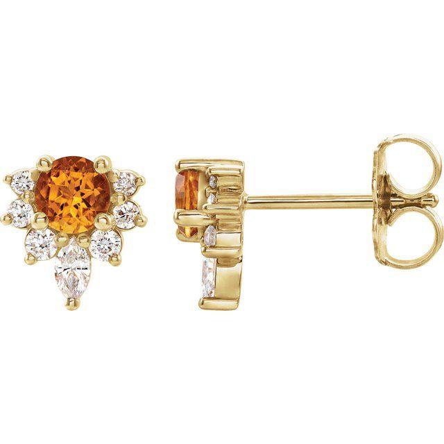 14K Yellow Citrine & 1/6 CTW Diamond Earrings