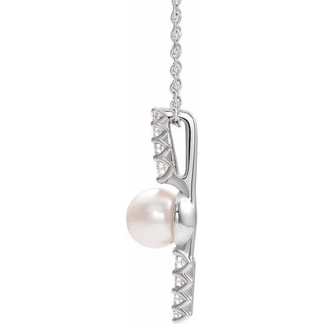 14K White Freshwater Cultured Pearl & 1/6 CTW Diamond 16-18