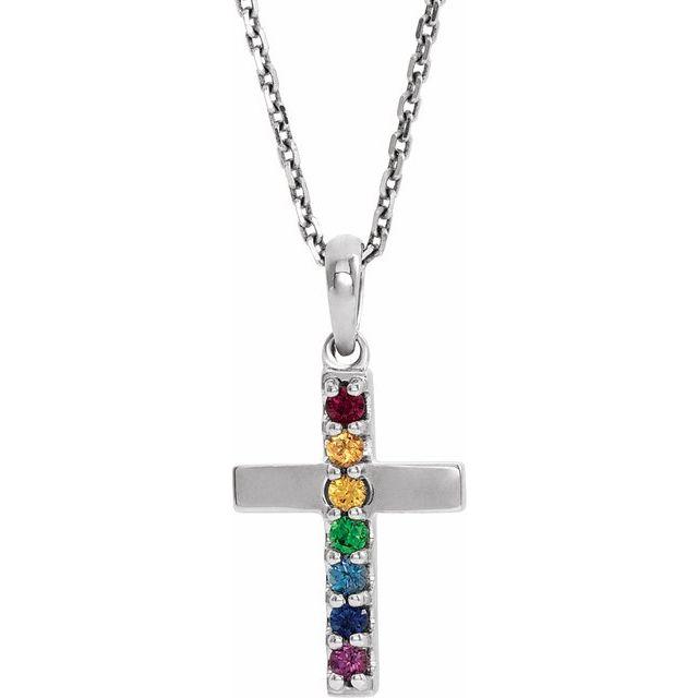 14K White Multi-Gemstone Cross 16-18