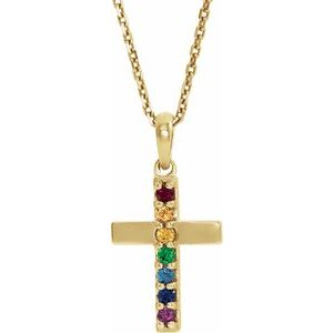 "14K Yellow Multi-Gemstone Cross 16-18"" Necklace"