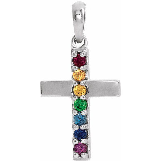 14K White Genuine Multi-Gemstone Cross Pendant
