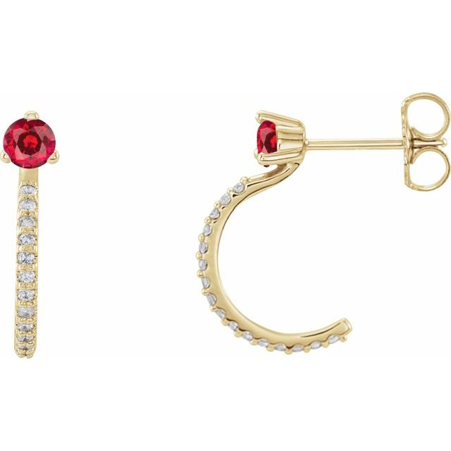 14K Yellow Lab-Grown Ruby & 1/6 CTW Diamond Hoop Earrings