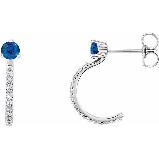 14K White Blue Sapphire & 1/6 CTW Diamond Hoop Earrings