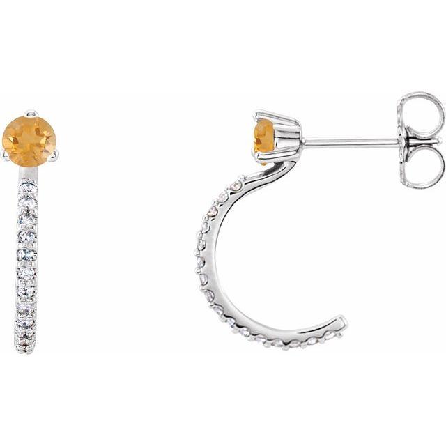 14K White Citrine & 1/6 CTW Diamond Hoop Earrings