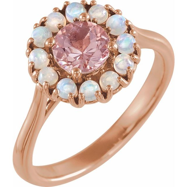 14K Rose Morganite & Ethiopian Opal Halo-Style Ring