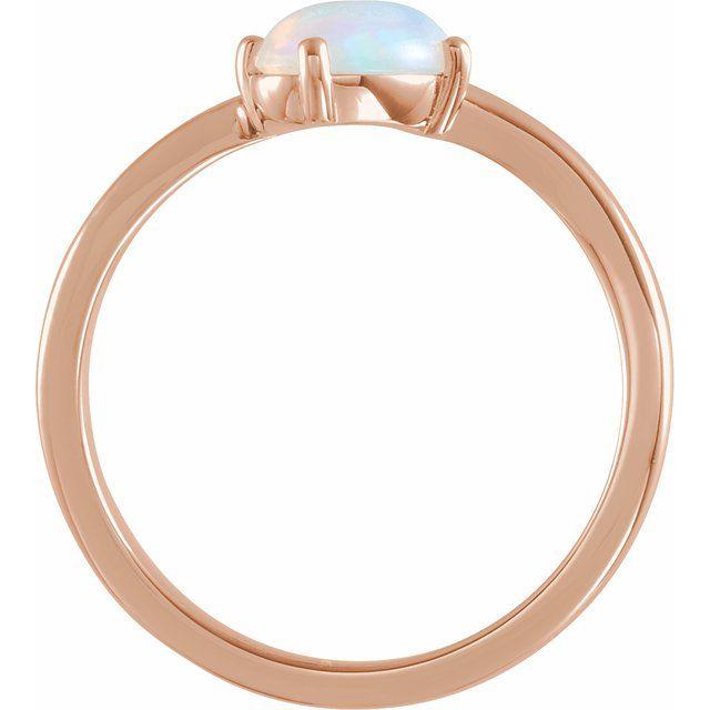 14K Rose Ethiopian Opal & .015 CT Diamond Bypass Ring