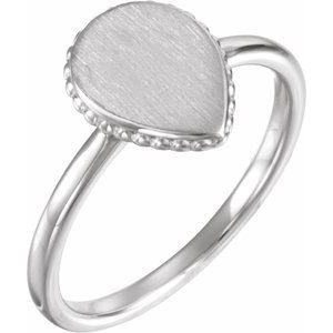 Sterling Silver 12x9 mm Teardrop Beaded Signet Ring