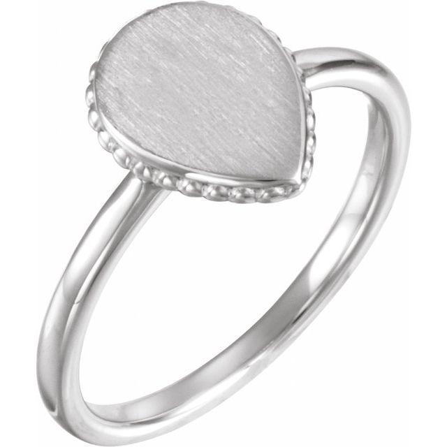 Sterling Silver 12x9 mm Teardrop Beaded Signet Ring