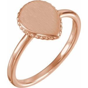 14K Rose 12x9 mm Teardrop Beaded Signet Ring